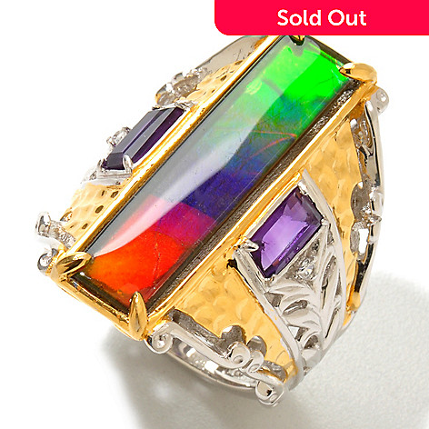 120-944 - Gems en Vogue 25 x 6mm Ammolite Triplet, Amethyst & White Sapphire Ring