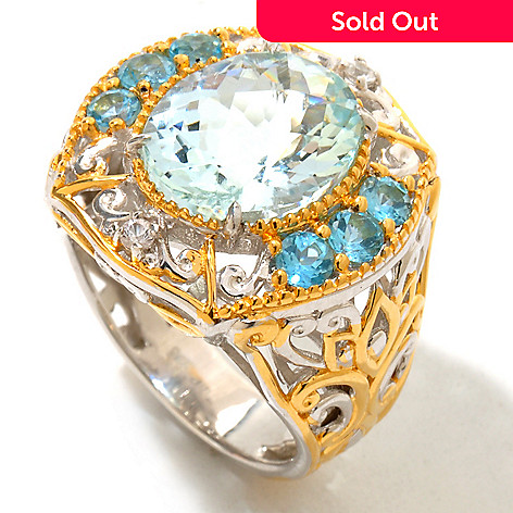 120-945 - Gems en Vogue 5.18ctw Aquamarine, Swiss Blue Topaz & White Sapphire Ring