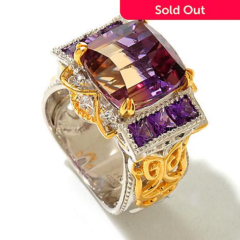 120-946 - Gems en Vogue 6.33ctw Ametrine, White Sapphire & Amethyst Ring