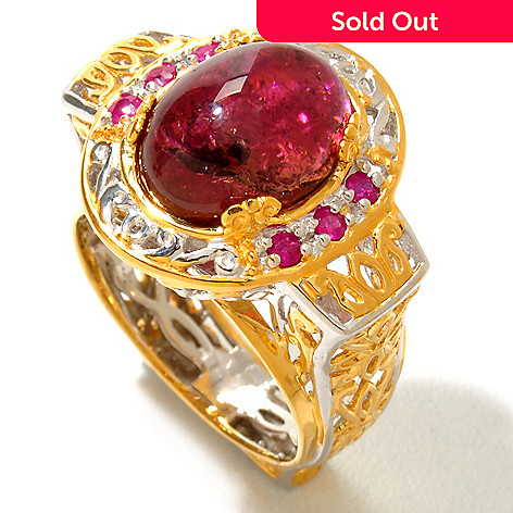 120-948 - Gems en Vogue II 12 x 9mm Rubellite & Ruby Euro Shank Ring