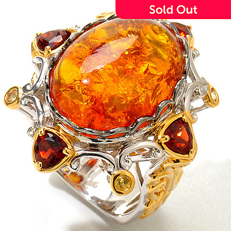 120-950 - Gems en Vogue 18 x 13mm Baltic Amber, Yellow Sapphire & Orange Garnet Ring