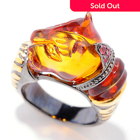 120-955 - Gems en Vogue 5.08ctw Carved Amber & Orange Sapphire Panther Ring