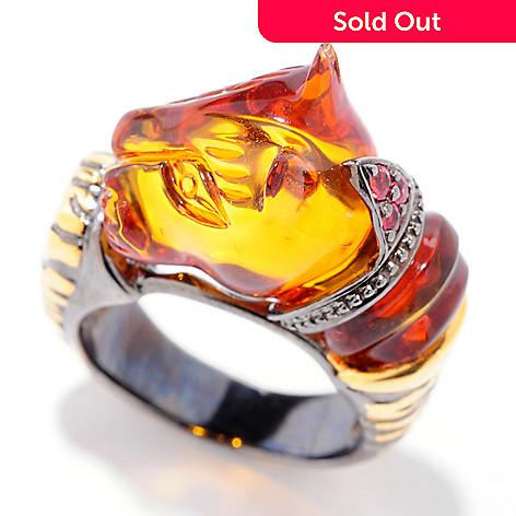 120-955 - Gems en Vogue 5.08ctw Carved Amber & Orange Sapphire Panther Ring