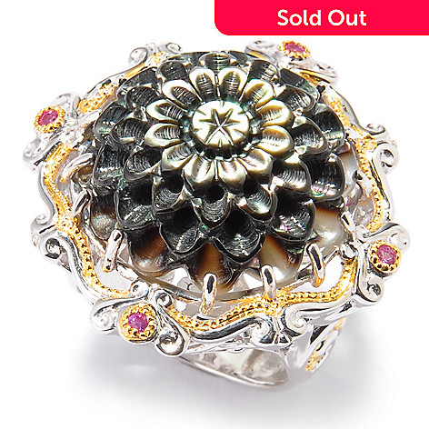 120-963 - Gems en Vogue Mother-of-Pearl, Rhodolite & Pink Sapphire Flower Ring