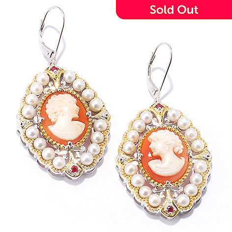 120-972 - Gems en Vogue II Italian Carved Shell Cameo, Cultured Pearl & Sapphire Earrings
