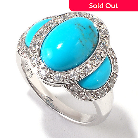 120-979 - Gem Insider® Sterling Silver Turquoise & White Sapphire Three-Stone Ring