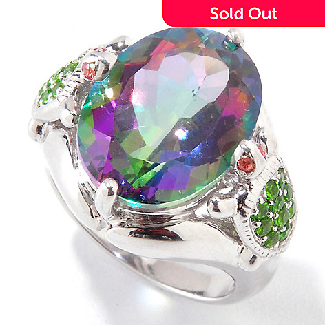 120-981 - NYC II™ 9.32ctw Exotic Topaz & Multi Gemstone Turtle Ring