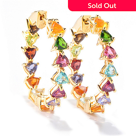 120-986 - NYC II™ 1' 6.34ctw Trillion Multi Gem ''Kaleidoscope'' Inside-Out Hoop Earrings