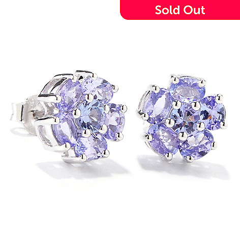 120-987 - NYC II Exotic Gemstone Flower Stud Earrings