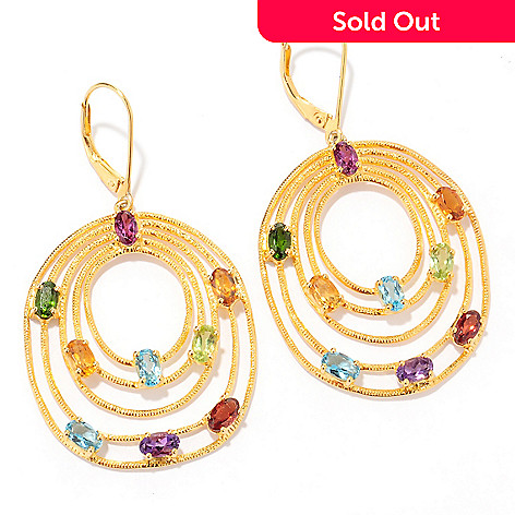 120-988 - NYC II 2'' 4.62ctw Multi Gemstone Tiered Oval Drop Earrings