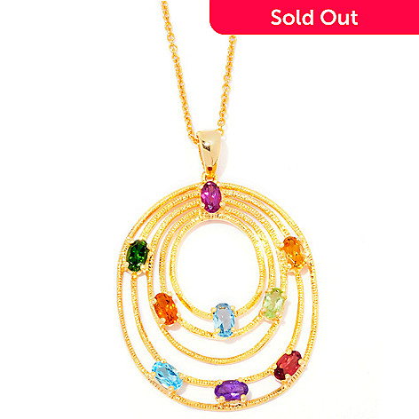 120-989 - NYC II™ 2.30ctw Multi Gemstone Tiered Oval Pendant w/ Chain