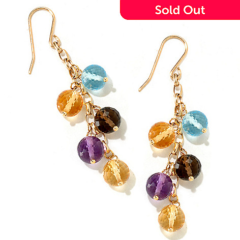 120-994 - SempreGold™ 14K Gold 17.50ctw Multi Gemstone Dangle Earrings