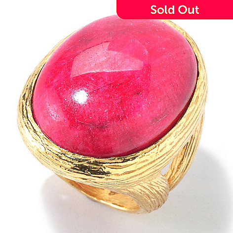 121-032 - Toscana Italiana Gold Embraced™ 25 x 18mm Dyed Red Corundum Ring