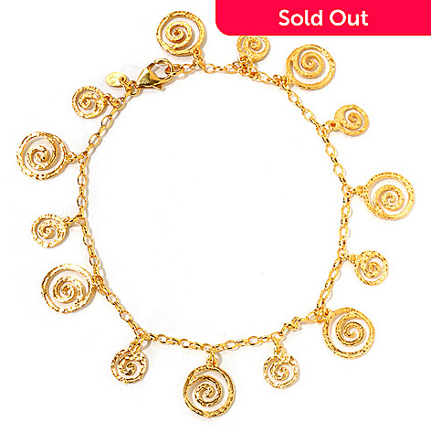 121-039 - Toscana Italiana Gold Embraced™ Etruscan Spiral Charm Anklet