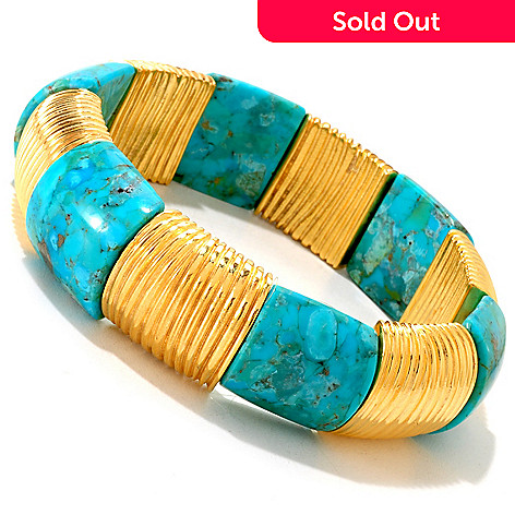 121-040 - Toscana Italiana Gold Embraced™ 7'' Reconstituted Turquoise Stretch Bracelet