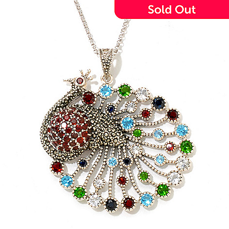 121-092 - Gem Treasures® Sterling Silver 5.83ctw Multi Gemstone Peacock Pendant w/ Chain