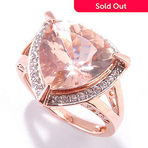 121-093 - Gem Treasures 14K Rose Gold 5.67ctw Trillion Shaped Morganite & White Topaz Ring