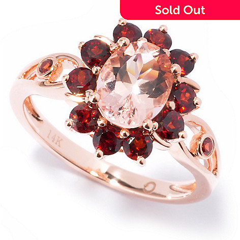 121-094 - Gem Treasures 14K Rose Gold 1.61ctw Morganite & Garnet Halo Ring