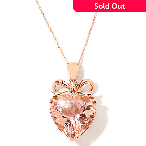 121-095 - Gem Treasures 14K Rose Gold 10.02ctw Heart Shaped Morganite & Diamond Bow Pendant