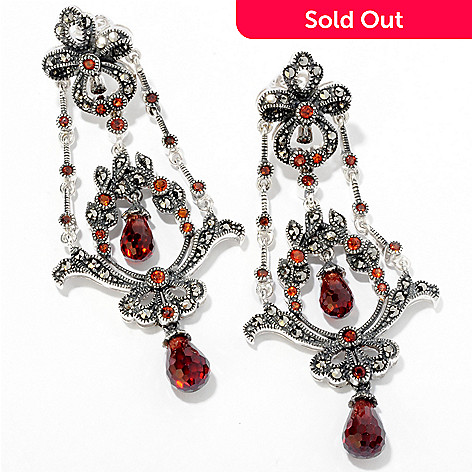 121-105 - Dallas Prince Sterling Silver 2.5'' Garnet Chandelier Earrings