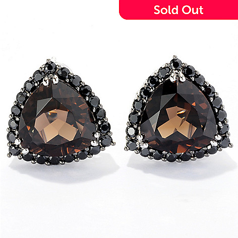 121-130 - NYC II™ Quartz Trillion & Black Spinel Stud Earrings