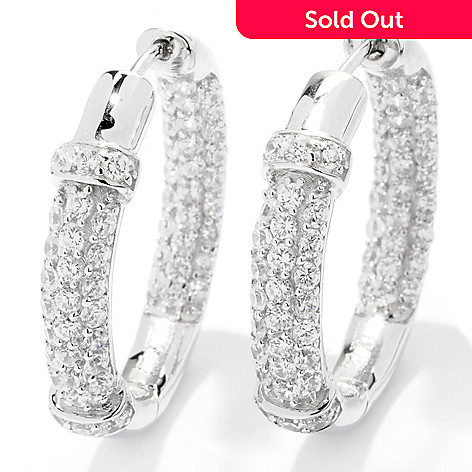 121-136 - Sonia Bitton 2.58 DEW Simulated Diamond Polished Inside Out Hoop Earrings