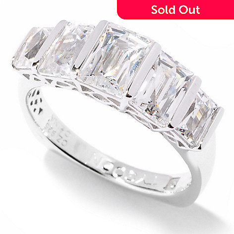 121-146 - TYCOON Platinum Embraced™ 2.52 DEW Simulated Diamond Graduated Rectangle Cut Ring