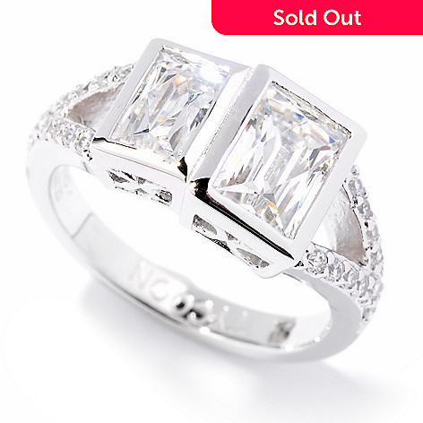 121-149 - TYCOON Platinum Embraced™ 1.98 DEW Simulated Diamond Rectangular Ring
