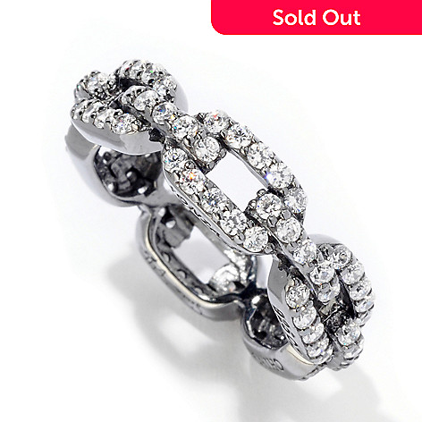 121-188 - Sonia Bitton 1.35 DEW Round Cut Link Simulated Diamond Eternity Band Ring