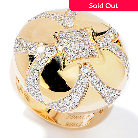 121-190 - Sonia Bitton Gold Embraced™ 1.21 DEW Pave Simulated Diamond Round Flower Ring