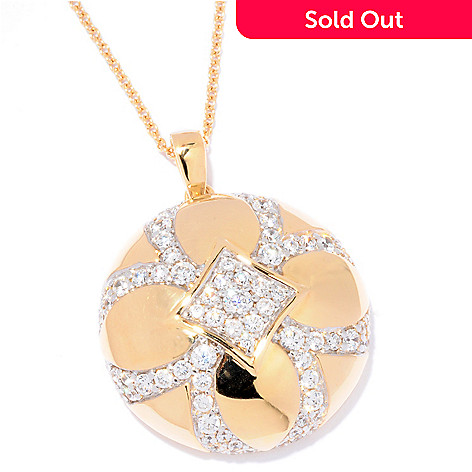 121-191 - Sonia Bitton Gold Embraced™ 3.17 DEW Round Simulated Diamond Flower Pendant