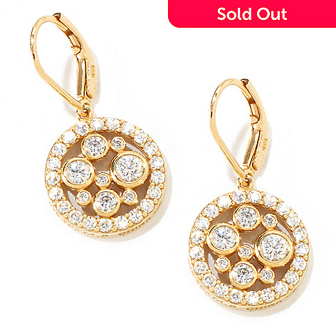 121-192 - Sonia Bitton 1.68 DEW Round Cut Bezel Simulated Diamond Disk Drop Earrings