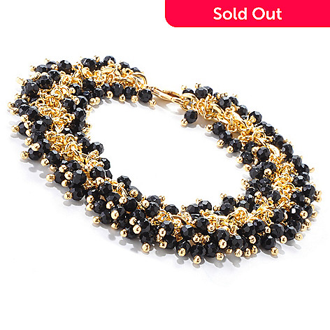 121-201 - Milano Luxe Gold Embraced™ 8'' Onyx Bead Cluster Link Bracelet