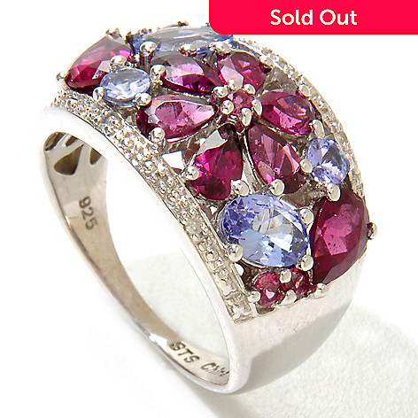121-206 - NYC II™ 3.30ctw Rhodolite Garnet, Tanzanite & Diamond Flower Ring