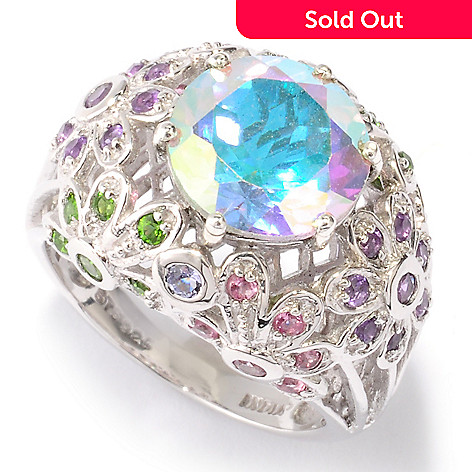 121-210 - NYC II™ 4.64ctw Topaz & Multi Gemstone Floral Design Ring
