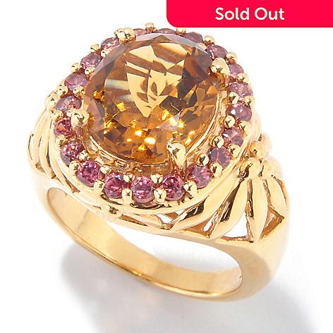 121-211 - NYC II™ 4.37ctw Cognac Quartz & Mocha Zircon Ring