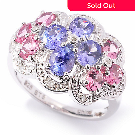 121-213 - NYC II 2.02ctw Tanzanite, Pink Tourmaline & Diamond Flower Ring