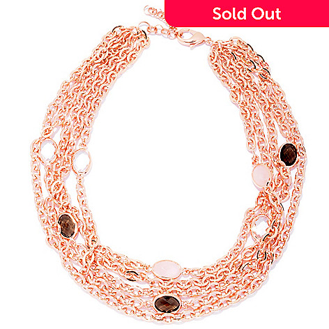 121-230 - Milano Luxe Gold Embraced™ 18'' Multi Strand Scattered Quartz Station Necklace