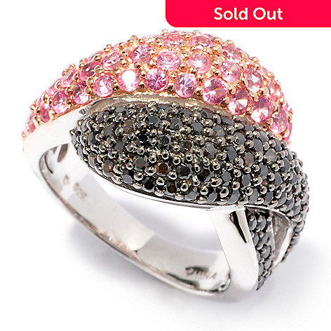 121-237 - Gem Treasures Sterling Silver 2.93ctw Pink & Black Spinel Overlap Ring