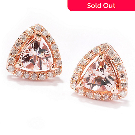 121-245 - Gem Treasures® 14K Rose Gold 1.51ctw Trillion Shaped Morganite & Diamond Earrings