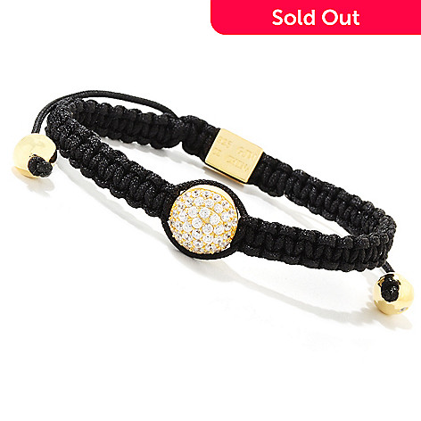 121-247 - Sonia Bitton 1.97 DEW Adjustable Macrame Simulated Diamond Pave Ball Bracelet