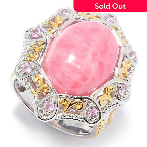 121-256 - Gems en Vogue 16 x 12mm Rhodochrosite & Pink Sapphire Ring