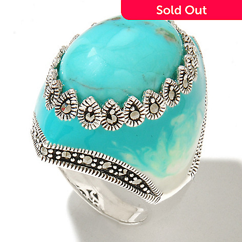 121-286 - Dallas Prince Sterling Silver Turquoise Ring Made w/ Swarovski® Marcasite