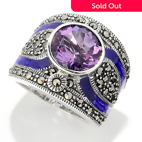 121-287 - Dallas Prince Sterling Silver Amethyst Ring Made w/ Swarovski® Marcasite