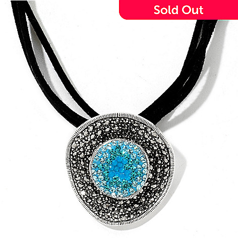 121-289 -  Dallas Prince Sterling Silver Crystal Pendant Made w/ Swarovski® Marcasite