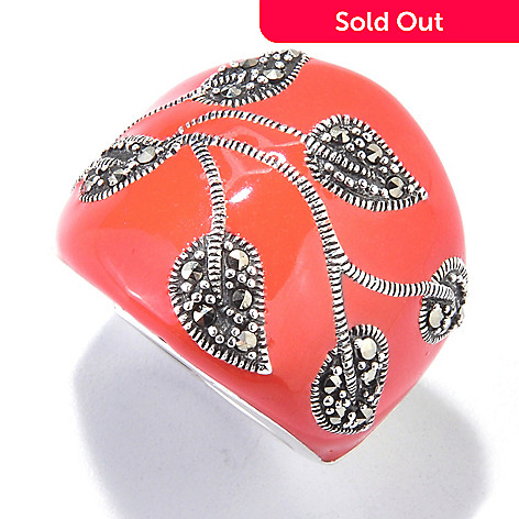 121-292 - Dallas Prince Sterling Silver Enamel Leaf Ring Made w/ Swarovski® Marcasite