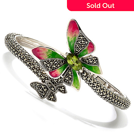 121-300 - Dallas Prince Sterling Silver 7'' Peridot Bracelet Made w/ Swarovski® Marcasite