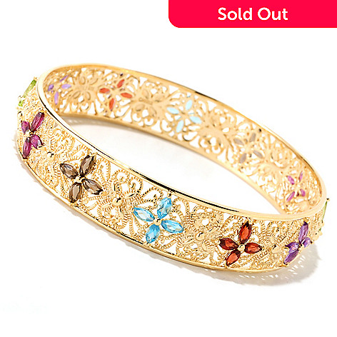 121-313 - Jaipur Jewelry Bazaar™ Gold Embraced™ 8'' Multi Gemstone Slip-on Bangle Bracelet