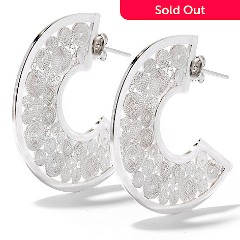 121-319 - Neda Behnam Filigree Circle Half Moon Earrings