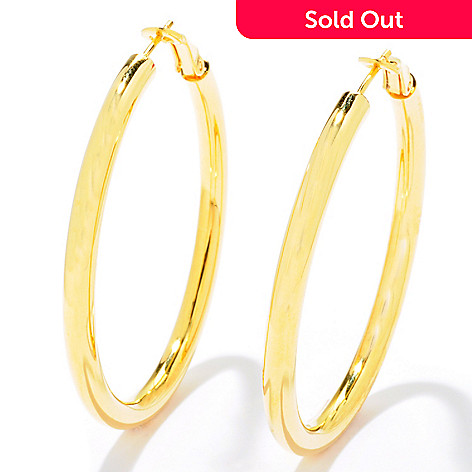 121-336 - Portofino Gold Embraced[ 2'' Polished Omega Back Hoop Earrings
